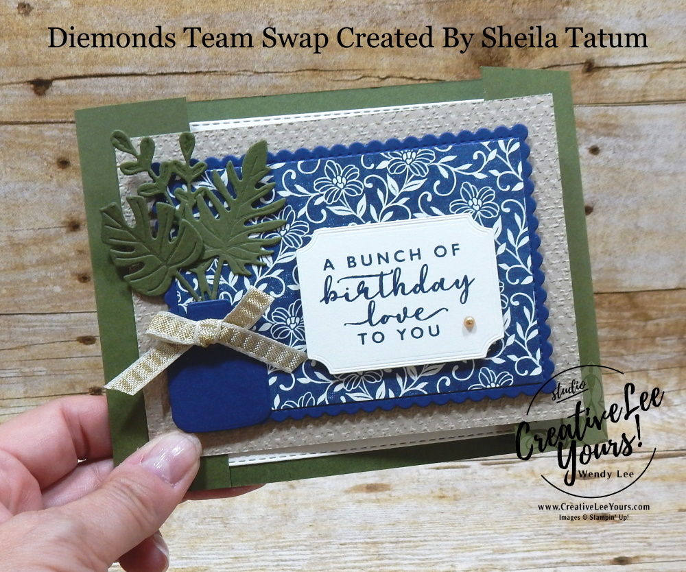 Birthday Love by Sheila Tatum, Wendy Lee, stampin Up, SU, #creativeleeyours, handmade card, Boho Indigo stamp set, friend, celebration, stamping, creatively yours, creative-lee yours, DIY, birthday, papercrafts, business opportunity, #makeacardsendacard ,#makeacardchangealife , #diemondsteam ,#diemondsteamswap ,#businessopportunity, rubberstamps, #stampinupdemonstrator , #cardmaking, #papercrafts , #papercraft , #papercrafting , #papercraftingsupplies, #papercraftingisfun,boho indigo product medley, vases