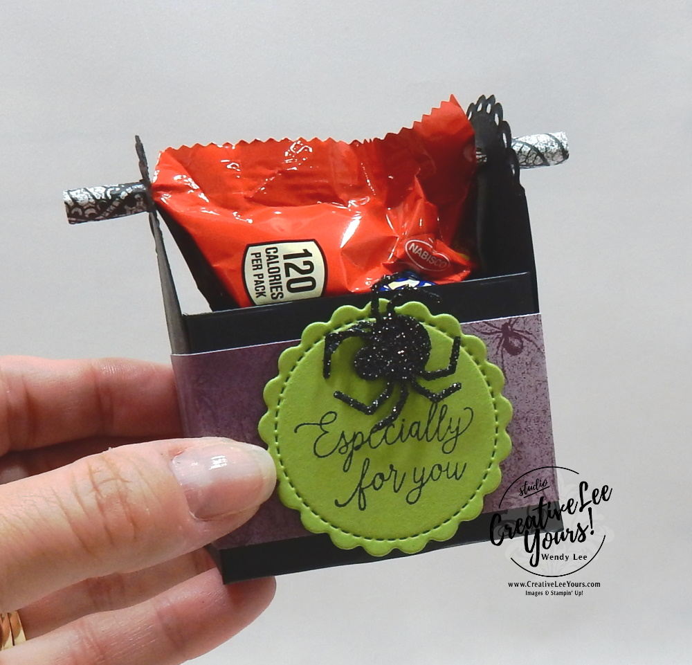 Halloween Treat Box by wendy lee, stampin up, stamping, SU, #creativeleeyours, creatively yours, creative-lee yours, #cardmaking #handmadecard #rubberstamps #stamping, friend, celebration, congratulations, thank you, hello, birthday, Halloween, spiders, bats, trick or treat, Hallows Night Magic stamp set, stamping, DIY, paper crafts, #papercrafting , #papercraftingsupplies, #papercraftingisfun , diemonds team gifts, ,#tutorial ,#tutorials, maui achievers blog hop, 3D treat box, candy holder