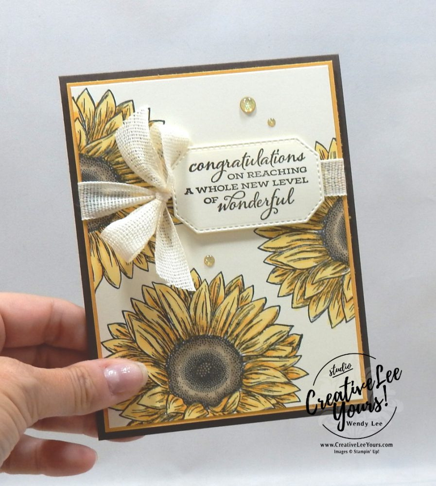 Wonderful Sunflowers by wendy lee, Celebrate Sunflowers stamp set, in color club, stampin up, stamping, SU, #creativeleeyours, creatively yours, creative-lee yours, #cardmaking, #handmadecard #rubberstamps #stamping, friend, celebration, congratulations, thank you, hello, birthday, stamping, DIY, paper crafts, #papercrafting , #papercraftingsupplies, #papercraftingisfun , #makeacardsendacard ,#makeacardchangealife, #tutorial ,#tutorials, fall, autumn