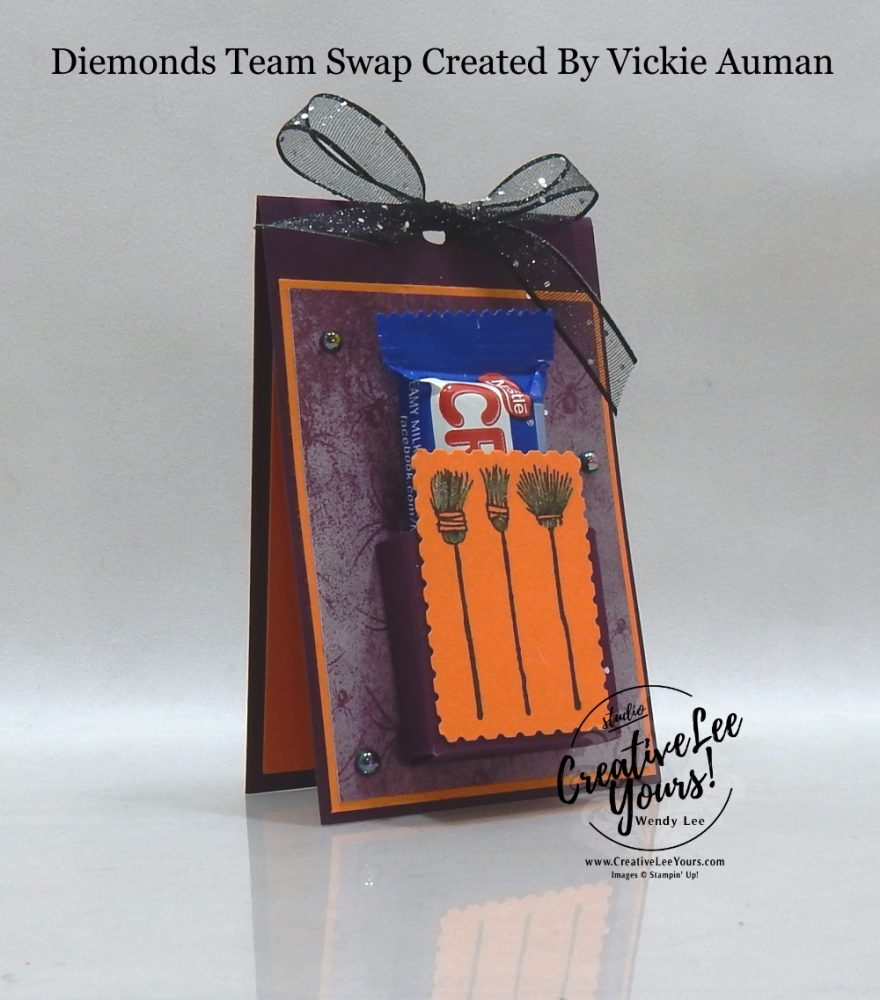 Festive Halloween Treat Holder by Vickie Auman, Wendy Lee, stampin Up, SU, #creativeleeyours, handmade card, Festive Post stamp set, friend, celebration, stamping, creatively yours, creative-lee yours, DIY, birthday, Halloween, 3D, candy treat holder, papercrafts, #makeacardsendacard ,#makeacardchangealife , #diemondsteam ,#diemondsteamswap ,#businessopportunity, rubberstamps, #stampinupdemonstrator , #cardmaking, #papercrafts , #papercraft , #papercrafting , #papercraftingsupplies, #papercraftingisfun,witches, broomsticks