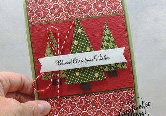 Blessed Christmas Wishes Pop-Up Gift Card Holder by wendy lee, stampin up, stamping, SU, #creativeleeyours, creatively yours, creative-lee yours, #cardmaking, #handmadecard, #rubberstamps #stamping, friend, celebration, congratulations, thank you, hello, grateful, thinking of you, birthday, Christmas, trees, holiday, fun fold, stamping, DIY, paper crafts, #papercrafting , #papercraftingsupplies, #papercraftingisfun , FMN, forget me not, card club, class, Itty Bitty Christmas stamp set, #makeacardsendacard ,#makeacardchangealife, ,#tutorial ,#tutorials, stitched triangles, heartwarming hugs, little treat box, pop up, gift card holder