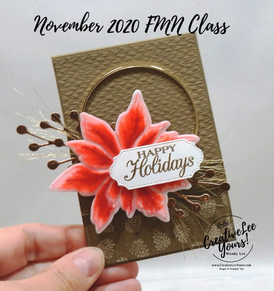 Flocked Poinsettia Gift Card Holder by wendy lee, stampin up, stamping, SU, #creativeleeyours, creatively yours, creative-lee yours, #cardmaking, #handmadecard, #rubberstamps #stamping, friend, celebration, congratulations, thank you, hello, grateful, thinking of you, birthday, Christmas, poinsettia, holiday, fun fold, stamping, DIY, paper crafts, #papercrafting , #papercraftingsupplies, #papercraftingisfun , FMN, forget me not, card club, class, poinsettia petals stamp set, #makeacardsendacard ,#makeacardchangealife, ,#tutorial ,#tutorials, ornate frames, tasteful textile, gift card holder