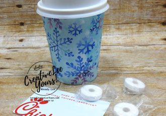 Create The Mini Coffee Cup Full Sleeve by Wendy Lee, stampin Up, SU, #creativeleeyours, handmade card, Christmas, friend, celebration, thank you, stamping, creatively yours, creative-lee yours, DIY, birthday, gift card holder, papercrafts, rubberstamps, #stampinupdemonstrator , #papercrafts , #papercraft , #papercrafting , #papercraftingsupplies, #papercraftingisfun, facebook live, video , snowflake splendor, mini coffee cup, how to, snowflakes