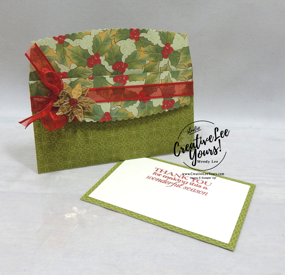 Ornamental Envelopes Gift Card Holders by Wendy Lee, stampin up, stamping, SU, #creativeleeyours, creatively yours, creative-lee yours, #cardmaking, #handmadecard, #rubberstamps, #stamping, friend, celebration, congratulations, thank you, hello, birthday, holiday, Christmas, winter, trees, evergreen, stamping, DIY, paper crafts, #papercrafting , #papercraftingsupplies, #papercraftingisfun , #makeacardsendacard ,#makeacardchangealife, stampers showcase blog hop, envelope dies, gift card holder, snowflake splendor, poinsettia petals, trimming the town, heartwarming hugs, brightly gleaming