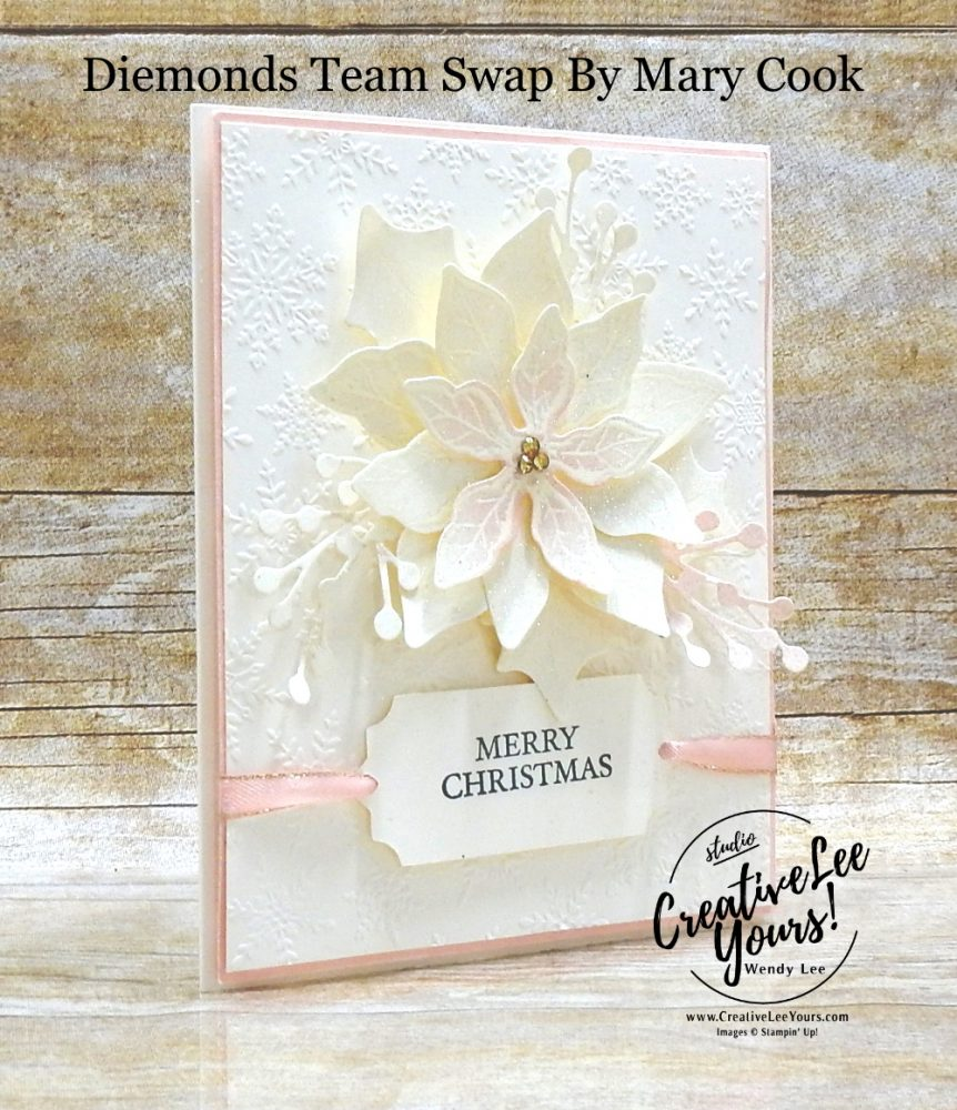 Shimmery Poinsettia by Mary Cook, Wendy Lee, stampin Up, SU, #creativeleeyours, handmade card, Curvy Christmas stamp set, Poinsettia Petals stamp set, embossing, friend, celebration, thank you, Christmas, Holiday, stamping, creatively yours, creative-lee yours, DIY, birthday, papercrafts, business opportunity, #makeacardsendacard ,#makeacardchangealife , #diemondsteam ,#diemondsteamswap ,#businessopportunity, rubberstamps, #stampinupdemonstrator , #cardmaking, #papercrafts , #papercraft , #papercrafting , #papercraftingsupplies, #papercraftingisfun, white on white, pop of color, shimmer paint, spritzing
