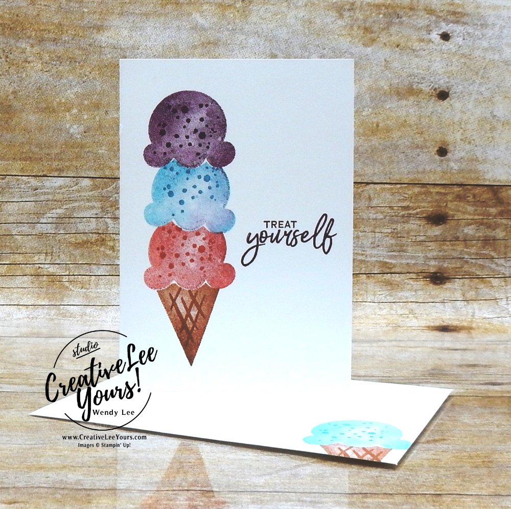 Adorable Note Card by Wendy Lee, stampin Up, SU, #creativeleeyours, handmade card, friend, celebration , birthday, stamping, creatively yours, creative-lee yours, DIY, papercrafts, rubberstamps, #stampinupdemonstrator , #papercrafts , #papercraft , #papercrafting , #papercraftingsupplies, #papercraftingisfun, Facebook live, video , sweet ice cream stamp set, paper embossing, #tutorial ,#tutorials, ice cream, #simplestamping,masking, stamping off