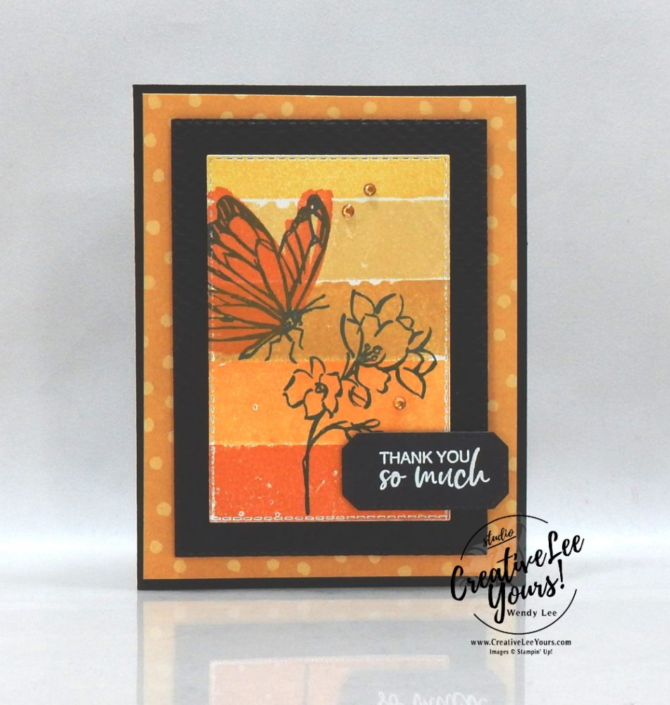 Painter's Tape Technique by Wendy Lee, stampin Up, SU, #creativeleeyours, handmade card, friend, celebration , birthday, thank you, hope, love, stamping, creatively yours, creative-lee yours, DIY, papercrafts, rubberstamps, #stampinupdemonstrator , #papercrafts , #papercraft , #papercrafting , #papercraftingsupplies, #papercraftingisfun, Facebook live, video , A touch of ink stamp set, paper embossing, ,#tutorial ,#tutorials, ,#technique ,#techniques,#SAB, #saleabration,flower and field, pattern paper, butterfly