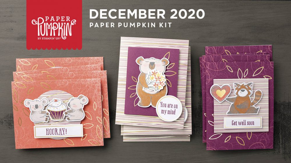 Wendy Lee, December 2020 Paper Pumpkin Kit, Beary Comforting, stampin up, handmade cards, rubber stamps, stamping, kit, subscription, #creativeleeyours, creatively yours, creative-lee yours, celebration, smile, thank you, birthday, get well, thinking of you,, congrats, koala, bear, racoon, bonus tutorial, fast & easy, DIY, #simplestamping, card kit, subscription, craft kit, #paperpumpkinalternates , #paperpumpkinalternative ,#paperpumpkinalternatives, #papercraftingkit