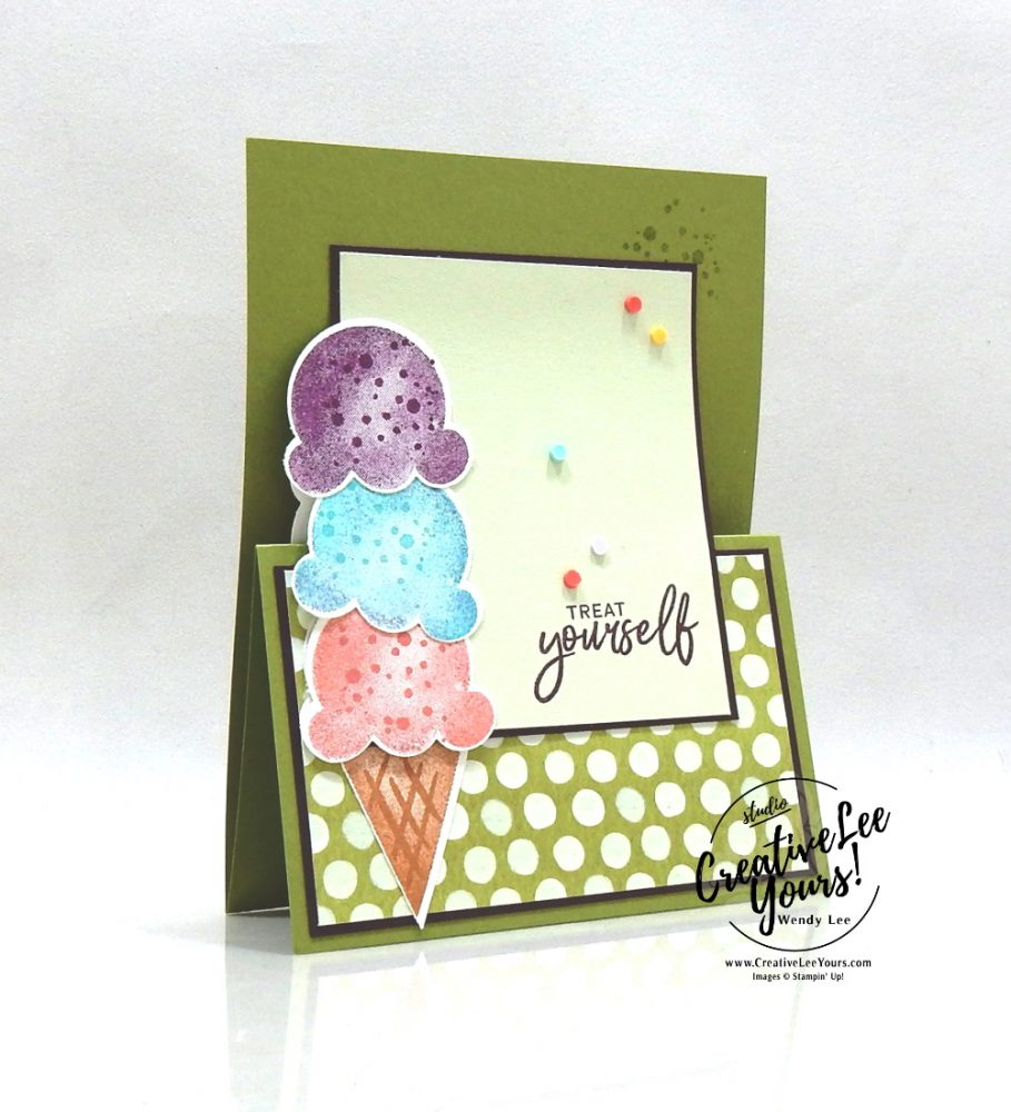Treat Yourself Vertical Z-Fold by Wendy Lee, stampin up, stamping, SU, #creativeleeyours, creatively yours, creative-lee yours, #cardmaking, #handmadecard, #rubberstamps, #stamping, friend, celebration, congratulations, thank you, hello, hope, love, birthday, stamping, DIY, paper crafts, #papercrafting , #papercraftingsupplies, #papercraftingisfun , Sweet Ice Cream stamp set, #incecreamcorner, #makeacardsendacard ,#makeacardchangealife, ,#tutorial ,#tutorials ,#technique ,#techniques, stampingoff, ,#funfoldcards ,#funfoldcard, #diemondsteam ,#diemondsteamswap ,#businessopportunity ,masculine