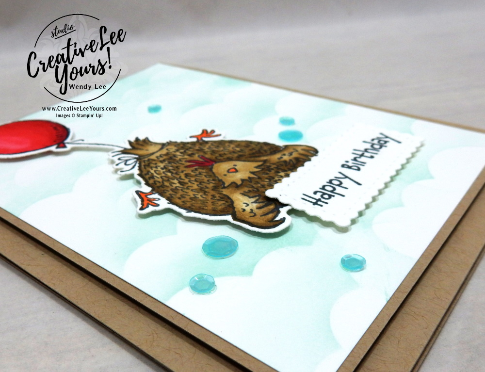 How To Create A Cloud Background With A Snowman by Wendy Lee, stampin Up, SU, #creativeleeyours, handmade card, friend, celebration , thinking of you, thank you, birthday, love, stamping, creatively yours, creative-lee yours, DIY, papercrafts, rubberstamps, #stampinupdemonstrator , #papercrafts , #papercraft , #papercrafting , #papercraftingsupplies, #papercraftingisfun, Facebook live, video , Hey Birthday Chick stamp set, #tutorial ,#tutorials, #livepapercrafting, #patternpaper, #card,#technique ,#techniques, #heybirthdaychick, #floatingchicken, #clouds, #snowmanbuilderpunch