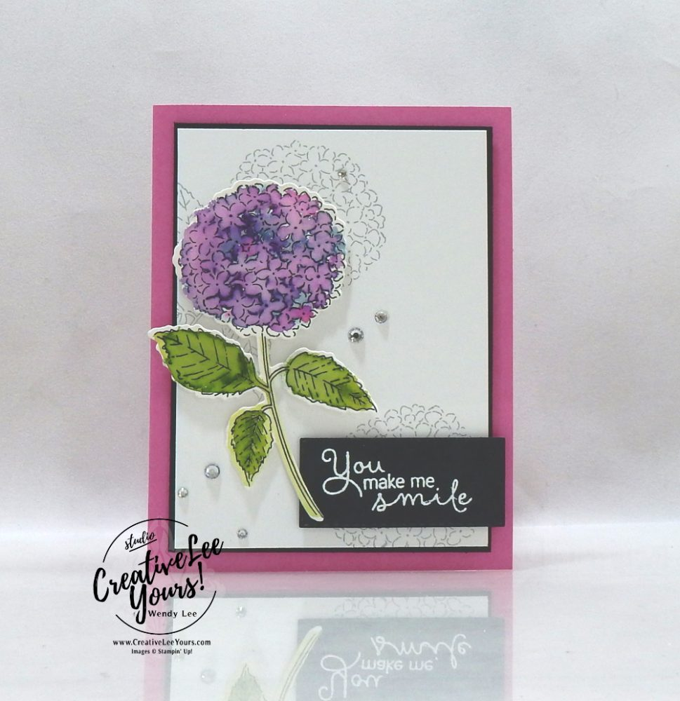 You make me smile by wendy lee, All star tutorial bundle, #wendylee , #creativeleeyours , #stampinup , #su , #stampinupdemonstrator , #cardmaking, #handmadecard, #rubberstamps, #stamping, #cardclass, # cardclasses ,#onlinecardclasse,#tutorial ,#tutorials #DIY, #papercrafts , #papercraft , #papercrafting , #papercraftingsupplies, #papercraftingisfun, #papercraftingideas, #makeacardsendacard ,#makeacardchangealife, #subscription, #product suites, Hydrangea Haven Suite, blog hop, #hydrangeahill, hydrangea hill stamp set, water color