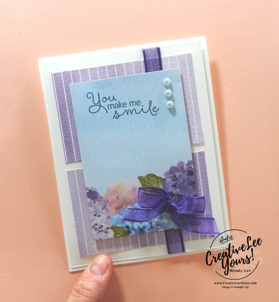 You Make Me Smile by wendy lee, Maui Achievers Blog Hop, stampin up, stamping, SU, #creativeleeyours, creatively yours, creative-lee yours, #cardmaking, #handmadecard, #rubberstamps, #stamping, friend, celebration, congratulations, thank you, hello, birthday, thinking of you, love, anniversary, DIY, paper crafts, #papercrafting , #papercraftingsupplies, #papercraftingisfun, Hydrangea Haven stamp set, flowers