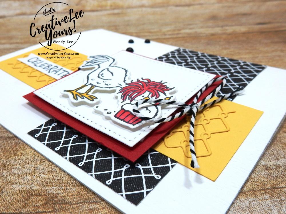 Celebrate Chick by Wendy Lee, stampin Up, SU, #creativeleeyours, handmade card, friend, celebration , birthday, stamping, creatively yours, creative-lee yours, DIY, papercrafts, rubberstamps, #stampinupdemonstrator , #papercrafts , #papercraft , #papercrafting , #papercraftingsupplies, #papercraftingisfun, video , Hey Birthday Chick stamp set, #tutorial ,#tutorials, thank you, #snailedit, #snailmail, #darlingdonkeys, ,#SAB, #saleabration, #wobblecard#birthdaychick, #chickdies,#onlinebingo, #live, facebook live