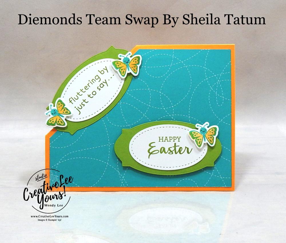Corner Pop Up Fun Fold by Sheila Tatum, Wendy Lee, Arrange a Wreath stamp set, Hippo Happiness stamp set, stampin up, stamping, SU, #creativeleeyours, creatively yours, creative-lee yours, #cardmaking #handmadecard #rubberstamps #stamping, friend, celebration, congratulations, thank you, hello, birthday, warm wishes, Easter, stamping, DIY, paper crafts, #papercrafting , #papercraftingsupplies, #papercraftingisfun , #makeacardsendacard ,#makeacardchangealife, #diemondsteam, #businessopportunity, #diemondsteamswap, fun fold, butterflies, lamb, pop up