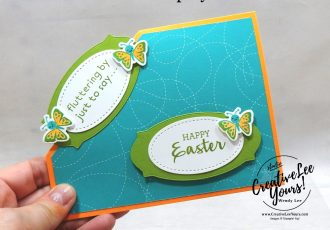 Corner Pop Up Fun Fold by Sheila Tatum, Wendy Lee, Arrange a Wreath stamp set, Hippo Happiness stamp set, stampin up, stamping, SU, #creativeleeyours, creatively yours, creative-lee yours, #cardmaking #handmadecard #rubberstamps #stamping, friend, celebration, congratulations, thank you, hello, birthday, warm wishes, Easter, stamping, DIY, paper crafts, #papercrafting , #papercraftingsupplies, #papercraftingisfun , #makeacardsendacard ,#makeacardchangealife, #diemondsteam, #businessopportunity, #diemondsteamswap, fun fold, butterflies, lamb, pop up