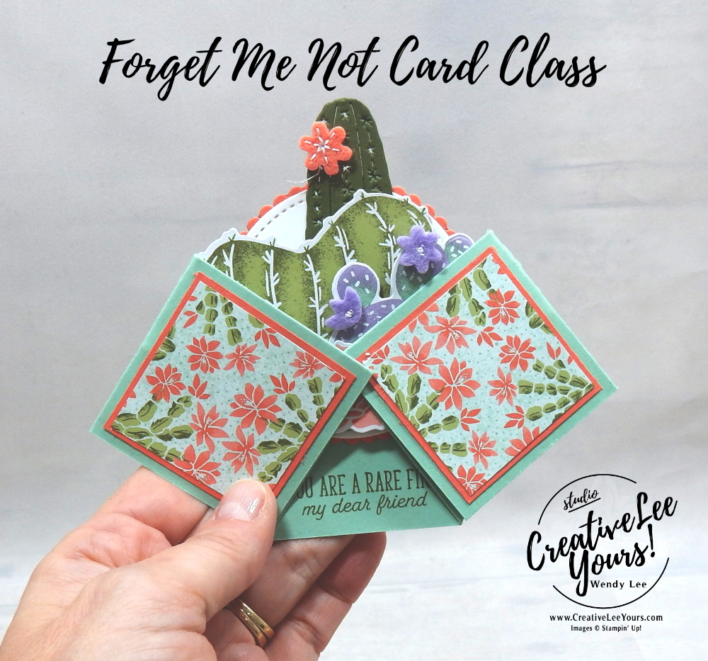 Double Diamond Fun Fold by wendy lee, Flowering Cactus stamp set, stampin up, stamping, SU, #creativeleeyours, creatively yours, creative-lee yours, #cardmaking, #handmadecard, #rubberstamps #stamping, friend, thinking of you, sympathy, thank you, birthday, love, anniversary, stamping, DIY, paper crafts, #papercrafting , #papercraftingsupplies, #papercraftingisfun , FMN, forget me not, ,#cardclub ,#cardclasses ,#onlinecardclasses , tutorial ,#tutorials , ,#funfoldcards ,#funfoldcard ,#makeacardsendacard ,#makeacardchangealife, #technique ,#techniques, flowering cactus product medley, cactus