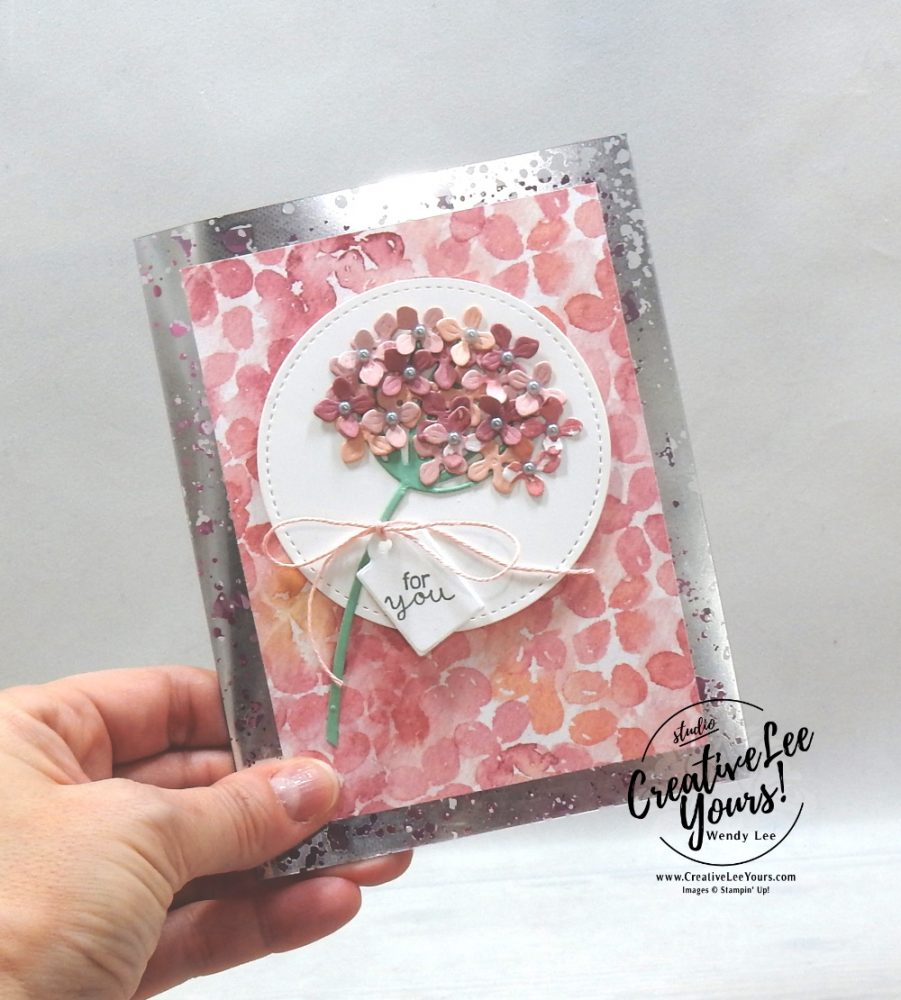 Beautiful Mercury Glass Acetate Card by Wendy Lee, stampin Up, SU, #creativeleeyours, handmade card, friend, celebration , birthday, congrats, friend, birthday, Mothers Day, stamping, creatively yours, creative-lee yours, DIY, papercrafts, rubberstamps, #stampinupdemonstrator , #papercrafts , #papercraft , #papercrafting , #papercraftingsupplies, #papercraftingisfun, video , Hydrangea Haven stamp set, #tutorial ,#tutorials, thank you, #live, Facebook live, hydrangea hill, Acetate card, Mercury glass acetate, Dandy wishes