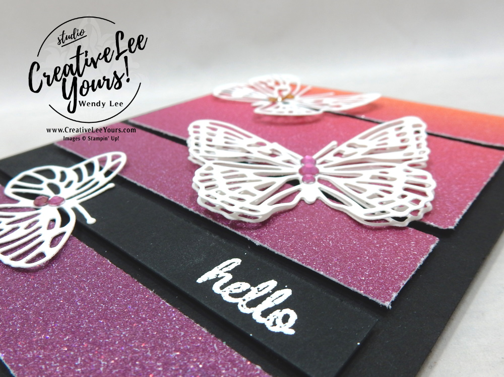 Glimmery Inside Corner Fun Fold by Wendy Lee, stampin Up, SU, #creativeleeyours, handmade card, friend, celebration , birthday, stamping, friend, butterflies, creatively yours, creative-lee yours, DIY, papercrafts, rubberstamps, #stampinupdemonstrator , #papercrafts , #papercraft , #papercrafting , #papercraftingsupplies, #papercraftingisfun, video , Timeless Tulips stamp set, #tutorial ,#tutorials, thank you, #live, facebook live, Brilliant Wings dies, fun fold, corner pop up