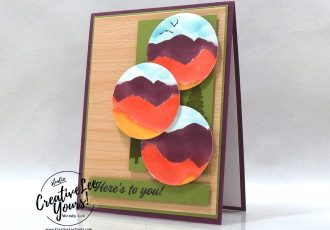 Stenciled Mountains by Wendy Lee, March 2021 Paper Pumpkin Kit, Here's to you, free gift, stencil set, stampin up, handmade cards, rubber stamps, stamping, kit, subscription, #creativeleeyours, creatively yours, creative-lee yours, celebration, smile, thank you, hope, sorry, birthday, thinking of you, love, congrats, lucky, feel better, sympathy, get well, grateful, comfort, encouragement, love, anniversary, wedding, majestic, mountain, landscapes, bonus tutorial, fast & easy, DIY, #simplestamping, card kit, subscription, craft kit, Bonus card, FMN