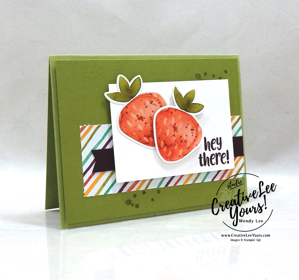 Hey there by Wendy Lee, April 2021 Paper Pumpkin Kit, stampin up, handmade cards, rubber stamps, stamping, kit, subscription, #creativeleeyours, creatively yours, creative-lee yours, celebration, smile, thank you, birthday, sorry, thinking of you, love, congrats, lucky, feel better, sympathy, get well, grateful, comfort, encouragement, hearts, valentine, anniversary, wedding, bonus tutorial, fast & easy, DIY, #simplestamping, card kit, subscription, craft kit, ice cream, #paperpumpkinalternates , #paperpumpkinalternative ,#paperpumpkinalternatives, #papercraftingkit,#socool, strawberry
