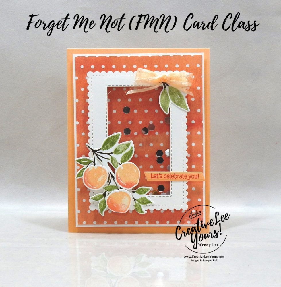 Framed Shaker by wendy lee, Sweet As A Peach stamp set, Peach Dies, stampin up, stamping, SU, #creativeleeyours, creatively yours, creative-lee yours, #cardmaking, #handmadecard, #rubberstamps #stamping, friend, thinking of you, celebrate, sympathy, thank you, birthday, love, anniversary, stamping, DIY, paper crafts, #papercrafting , #papercraftingsupplies, #papercraftingisfun , FMN, forget me not, ,#cardclub ,#cardclasses ,#onlinecardclasses , tutorial ,#tutorials ,#funfoldcards ,#funfoldcard ,#makeacardsendacard ,#makeacardchangealife, #technique ,#techniques, shaker, You're A Peach
