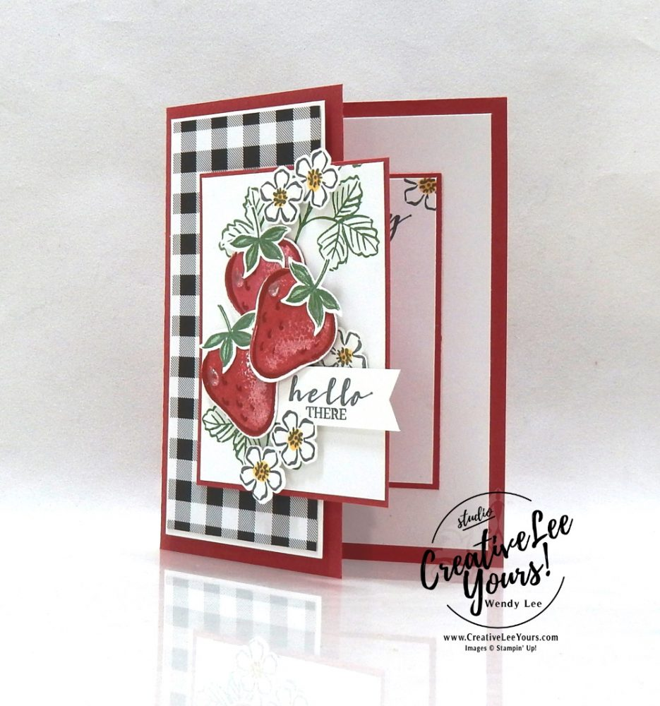 Sweet Strawberry Simple Stamping by wendy lee, #creativeleeyours, creatively yours, creative-lee yours, DIY, SU, rubber stamps, class, thank you, birthday, sweet strawberry stamp set, strawberry builder punch, friend, anniversary, wedding, #stampinup, #stampinupdemonstrator, #cardmaking, #handmadecard, #rubberstamps, #stamping,#tutorial ,#tutorials, #papercrafts , #papercraft , #papercrafting , #papercraftingsupplies, #papercraftingisfun, #papercraftingideas, #makeacardsendacard ,#makeacardchangealife, Facebook live, video, ,#cardclasses ,#onlinecardclasses ,#funfoldcards ,#funfoldcard,#technique ,#techniques, #simplestamping