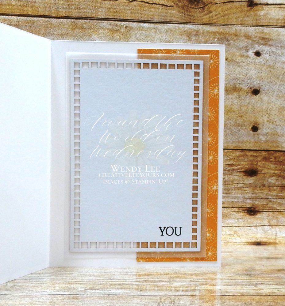 Celebrate You by Wendy Lee, stampin Up, stampin Up, SU, #creativeleeyours, handmade card, friend, celebration , birthday, stamping, creatively yours, creative-lee yours, DIY, papercrafts, rubberstamps, #stampinupdemonstrator , #papercrafts , #papercraft , #papercrafting , #papercraftingsupplies, #papercraftingisfun, Create With Friends stamp set, thank you, #aroundtheworldonwednesday, #aWOWbloghop, #casualcrafter, #dandygarden, laser cut