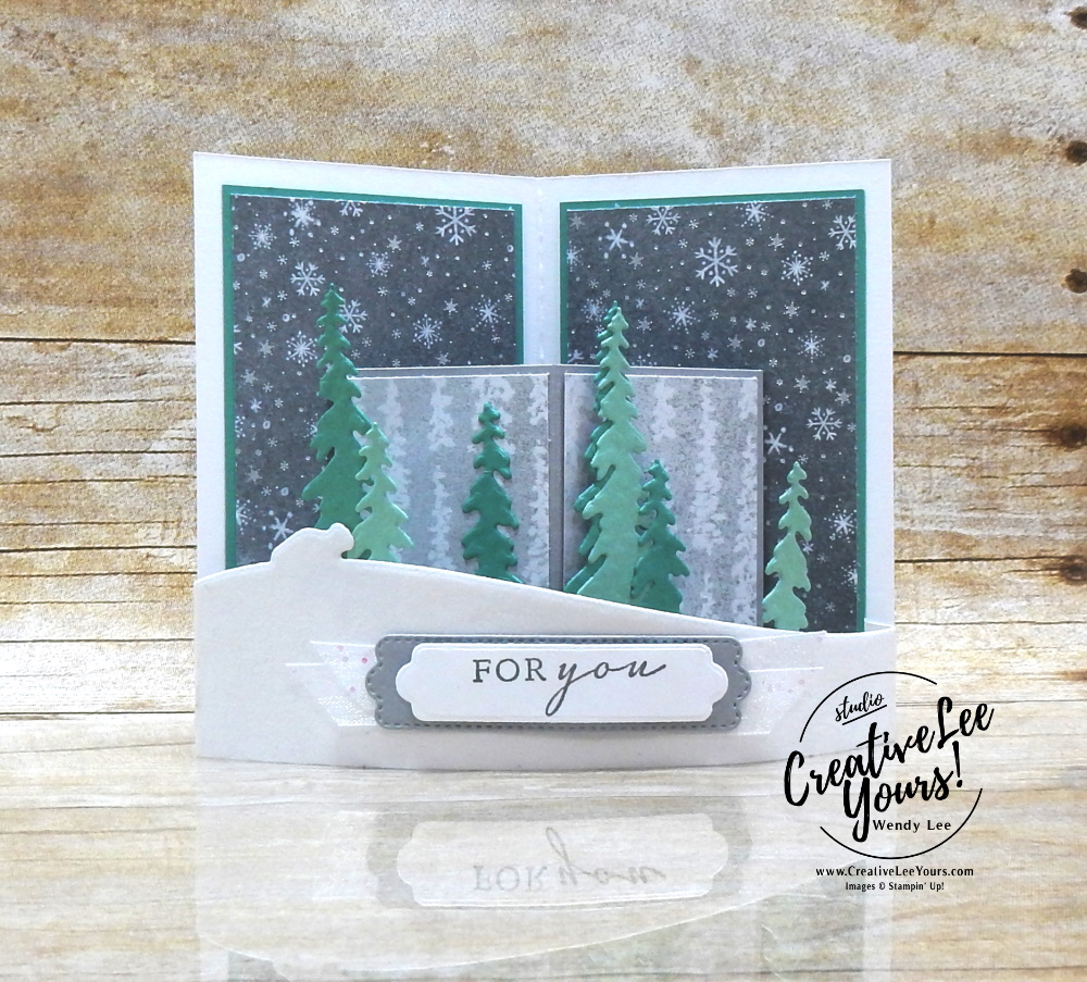 Peaceful Curvy Pop Up by wendy lee, Maui Achievers Blog Hop, stampin up, stamping, SU, #creativeleeyours, creatively yours, creative-lee yours, #cardmaking, #handmadecard, #rubberstamps, #stamping, friend, celebration, congratulations, thank you, hello, birthday, thinking of you, love, anniversary, winter, nature, trees, fun fold, curvy pop up, pop-up, DIY, paper crafts, #papercrafting , #papercraftingsupplies, #papercraftingisfun, #stampinupdemonstrator, #incentivetrip, #peacefulplace, #peacefulcabin, #glitterribbon, #velvetsheets